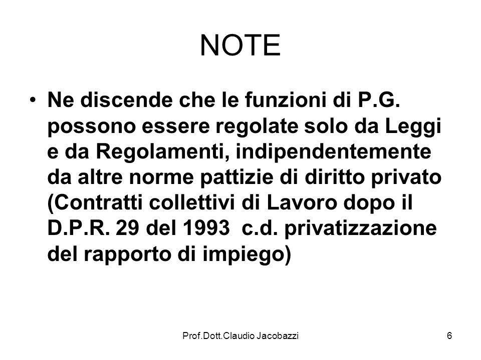 Prof.Dott.Claudio Jacobazzi6 NOTE Ne discende che le funzioni di P.G. possono essere regolate solo da Leggi e da Regolamenti, indipendentemente da alt