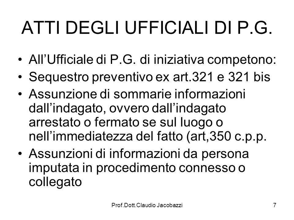 Prof.Dott.Claudio Jacobazzi7 ATTI DEGLI UFFICIALI DI P.G. AllUfficiale di P.G. di iniziativa competono: Sequestro preventivo ex art.321 e 321 bis Assu
