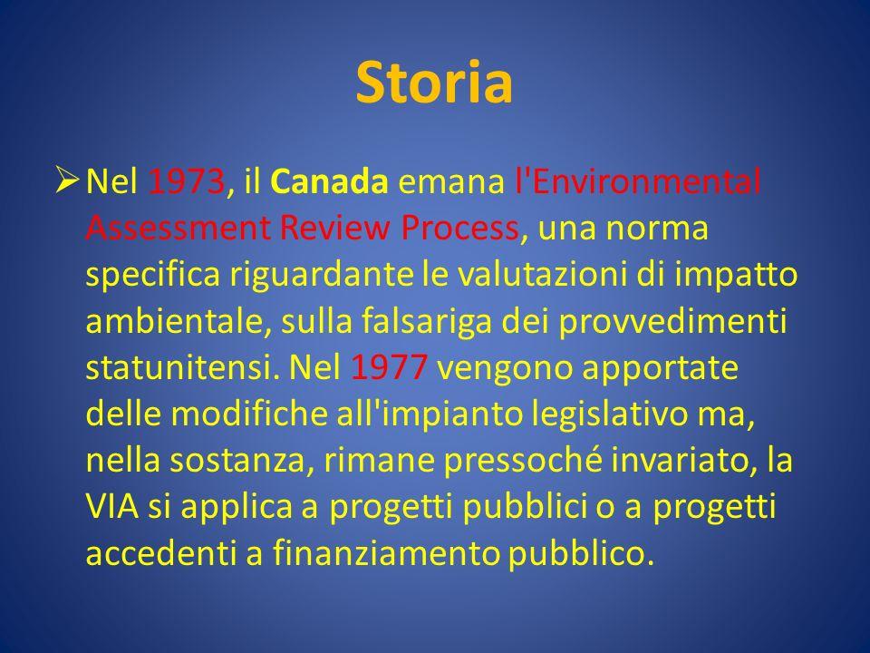 Storia Nel 1973, il Canada emana l Environmental Assessment Review Process, una norma specifica riguardante le valutazioni di impatto ambientale, sulla falsariga dei provvedimenti statunitensi.