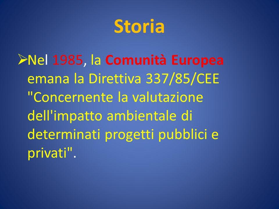 Storia Nel 1985, la Comunità Europea emana la Direttiva 337/85/CEE Concernente la valutazione dell impatto ambientale di determinati progetti pubblici e privati .