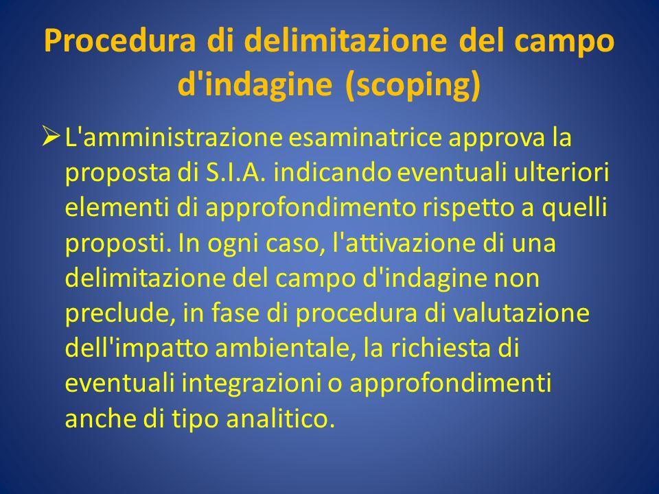 Procedura di delimitazione del campo d indagine (scoping) L amministrazione esaminatrice approva la proposta di S.I.A.