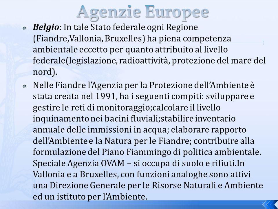 Belgio: In tale Stato federale ogni Regione (Fiandre,Vallonia, Bruxelles) ha piena competenza ambientale eccetto per quanto attribuito al livello federale(legislazione, radioattività, protezione del mare del nord).