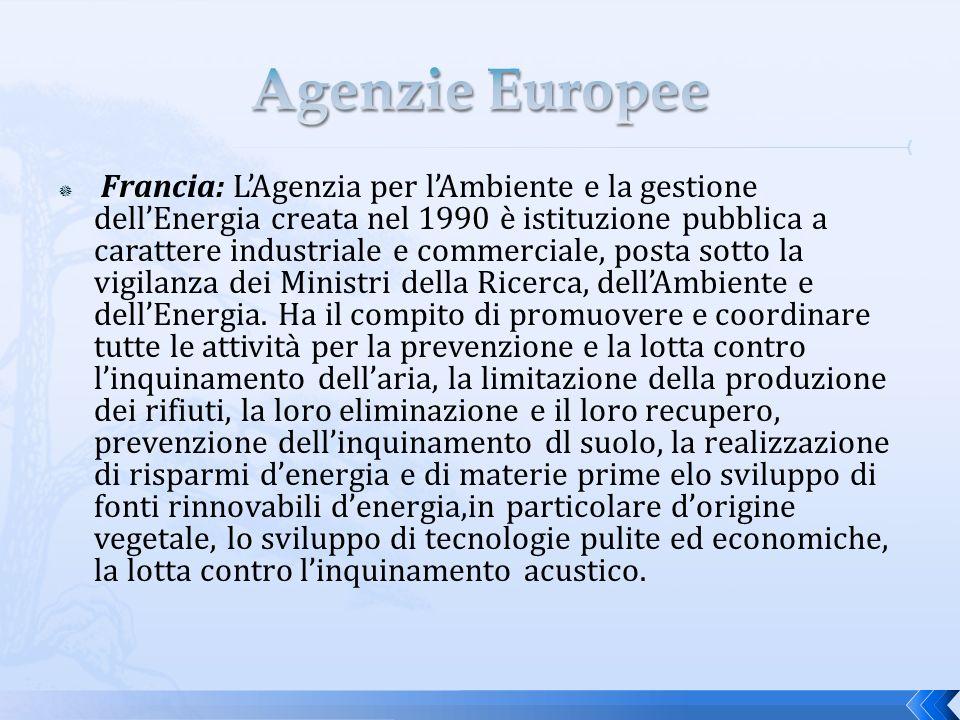 Francia: LAgenzia per lAmbiente e la gestione dellEnergia creata nel 1990 è istituzione pubblica a carattere industriale e commerciale, posta sotto la vigilanza dei Ministri della Ricerca, dellAmbiente e dellEnergia.