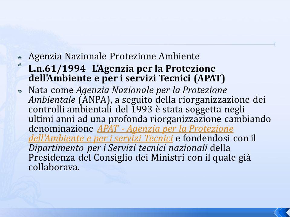 Agenzia Nazionale Protezione Ambiente L.n.61/1994 L Agenzia per la Protezione dell Ambiente e per i servizi Tecnici (APAT) Nata come Agenzia Nazionale per la Protezione Ambientale (ANPA), a seguito della riorganizzazione dei controlli ambientali del 1993 è stata soggetta negli ultimi anni ad una profonda riorganizzazione cambiando denominazione APAT - Agenzia per la Protezione dell Ambiente e per i servizi Tecnici e fondendosi con il Dipartimento per i Servizi tecnici nazionali della Presidenza del Consiglio dei Ministri con il quale già collaborava.APAT - Agenzia per la Protezione dell Ambiente e per i servizi Tecnici