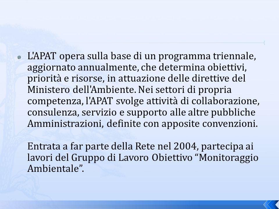 L APAT opera sulla base di un programma triennale, aggiornato annualmente, che determina obiettivi, priorità e risorse, in attuazione delle direttive del Ministero dell Ambiente.