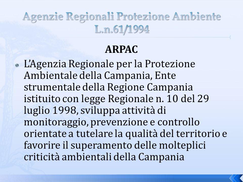 ARPAC LAgenzia Regionale per la Protezione Ambientale della Campania, Ente strumentale della Regione Campania istituito con legge Regionale n.