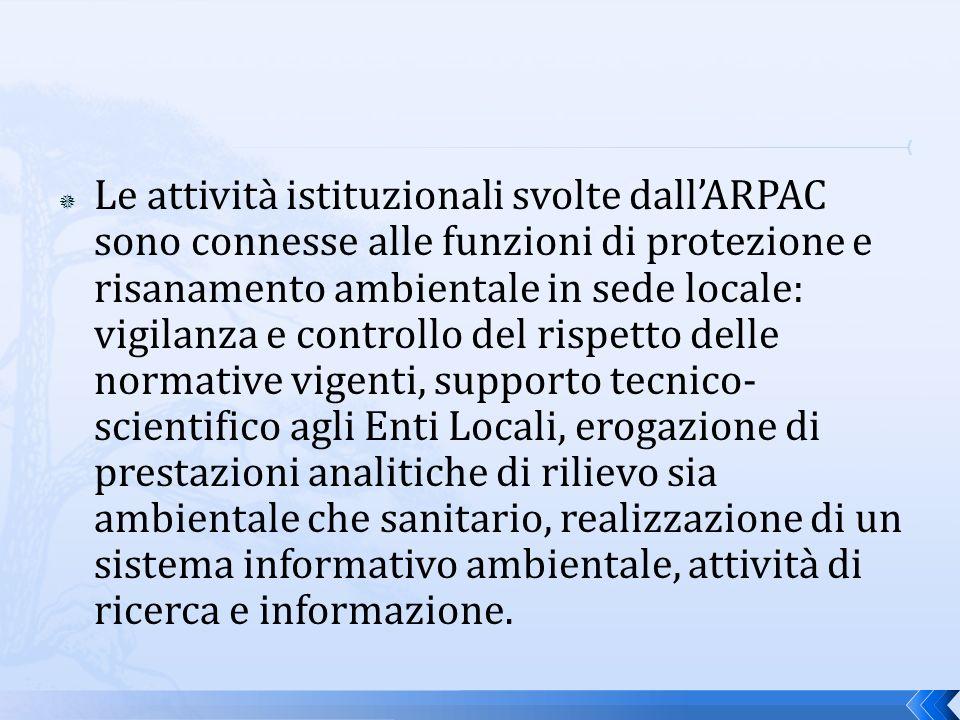 La struttura dell ARPAC, fortemente articolata e presente sul territorio, è costituita da una unità centrale - che ha sede a Napoli e che comprende la Direzione Generale, la Direzione Tecnica e la Direzione Amministrativa,da cinque Dipartimenti Provinciali e da Centri tematici specialistici.
