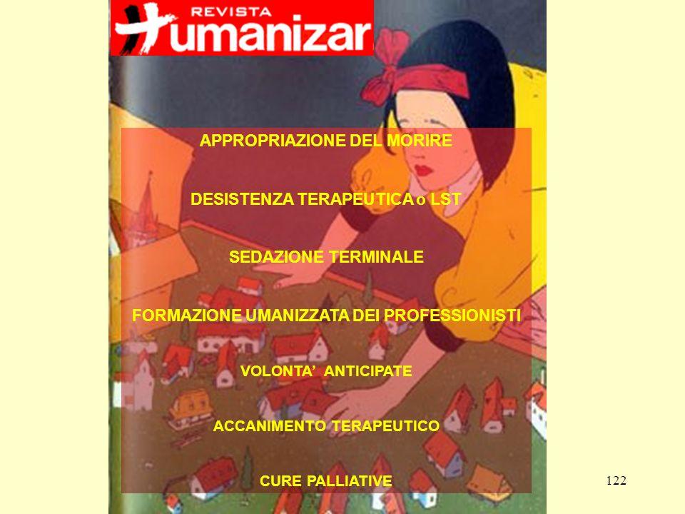 122 APPROPRIAZIONE DEL MORIRE DESISTENZA TERAPEUTICA o LST SEDAZIONE TERMINALE FORMAZIONE UMANIZZATA DEI PROFESSIONISTI VOLONTA ANTICIPATE ACCANIMENTO