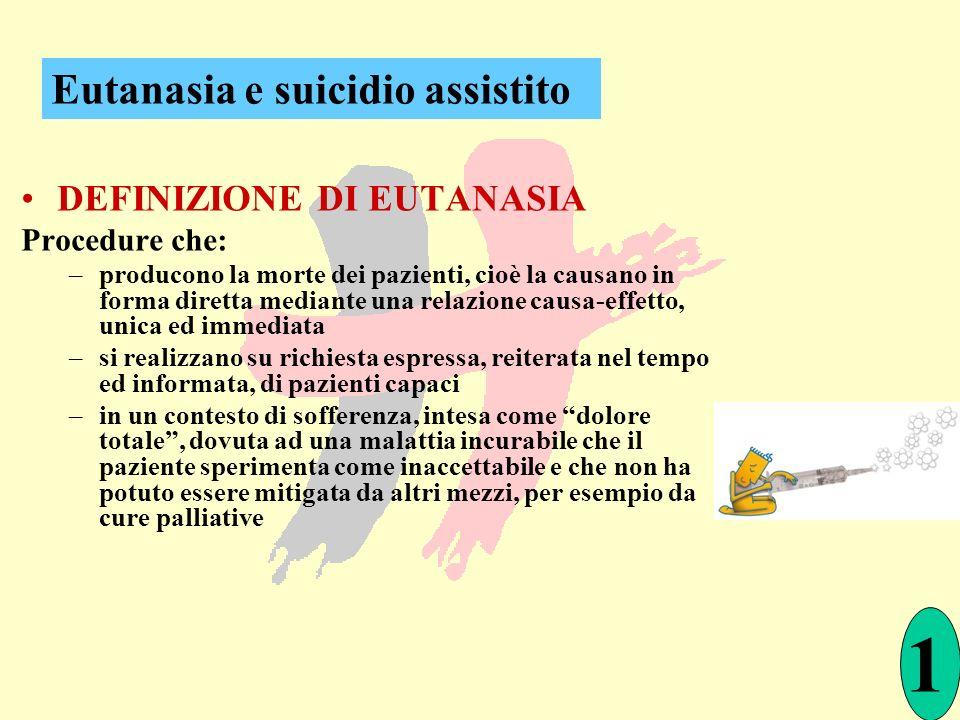 DEFINIZIONE DI EUTANASIA Procedure che: –producono la morte dei pazienti, cioè la causano in forma diretta mediante una relazione causa-effetto, unica