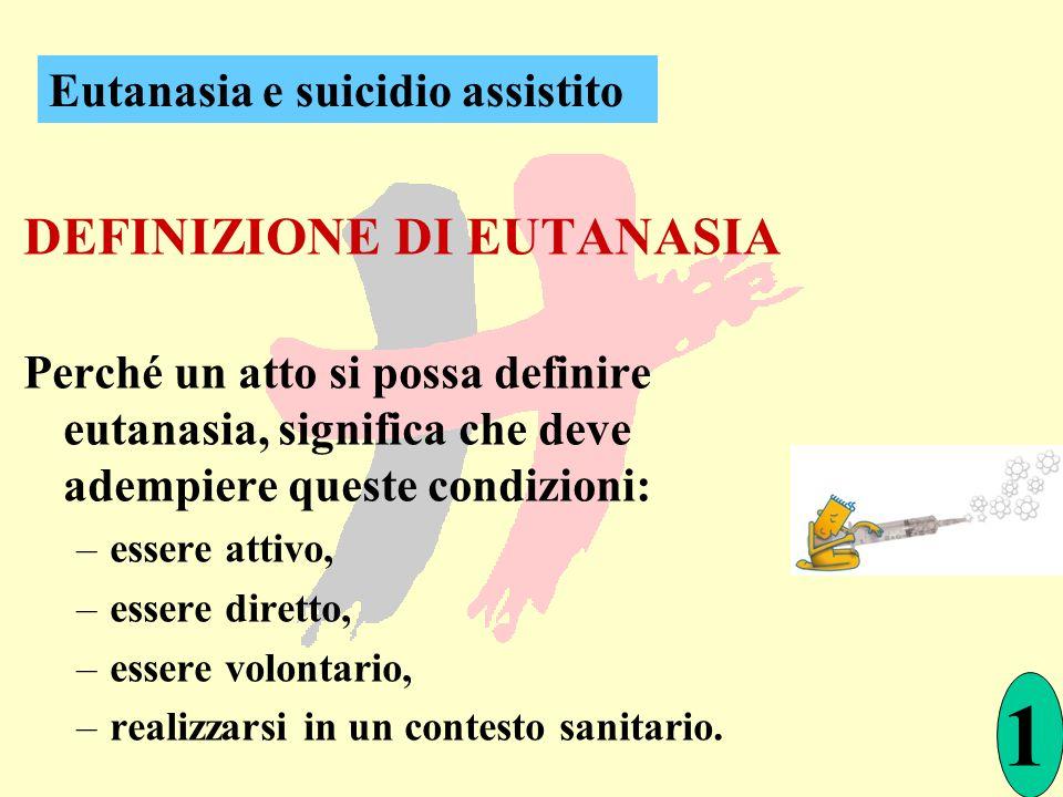 DEFINIZIONE DI EUTANASIA Perché un atto si possa definire eutanasia, significa che deve adempiere queste condizioni: –essere attivo, –essere diretto,