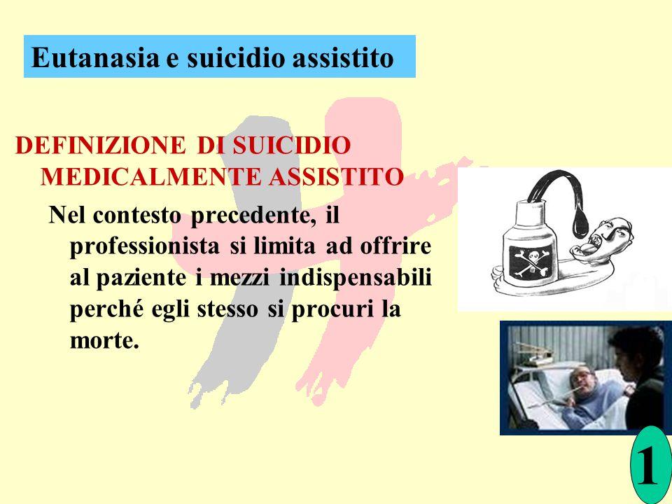 DEFINIZIONE DI SUICIDIO MEDICALMENTE ASSISTITO Nel contesto precedente, il professionista si limita ad offrire al paziente i mezzi indispensabili perc