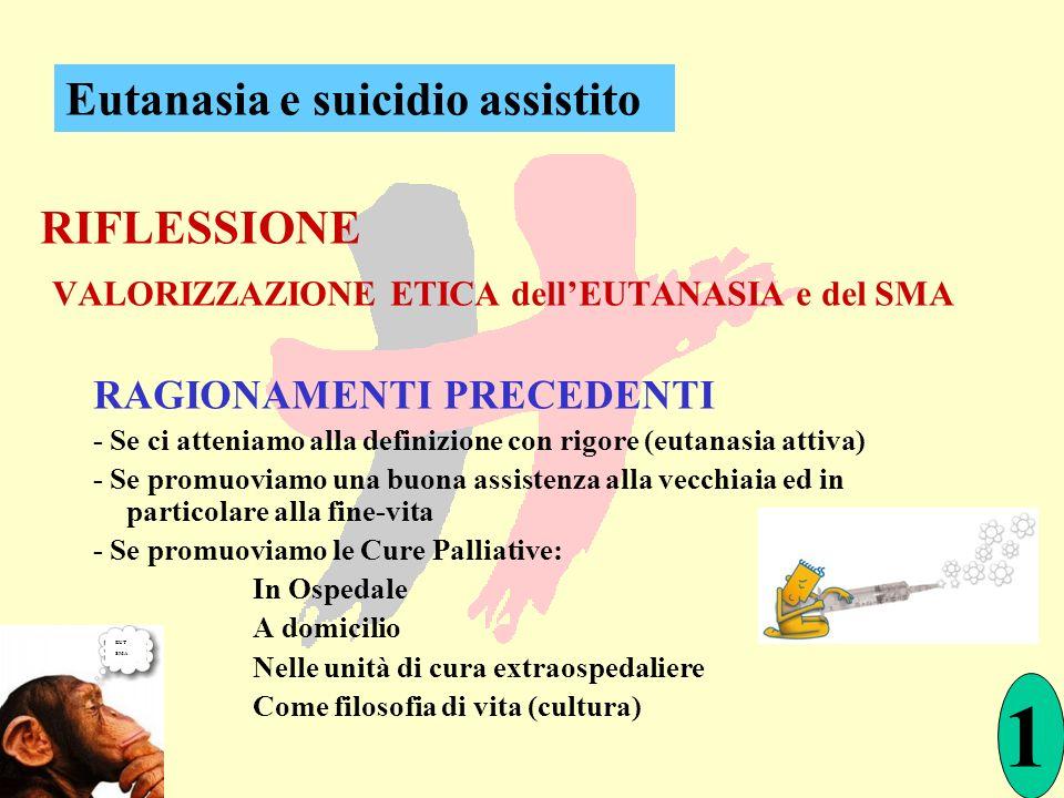 RIFLESSIONE VALORIZZAZIONE ETICA dellEUTANASIA e del SMA RAGIONAMENTI PRECEDENTI - Se ci atteniamo alla definizione con rigore (eutanasia attiva) - Se