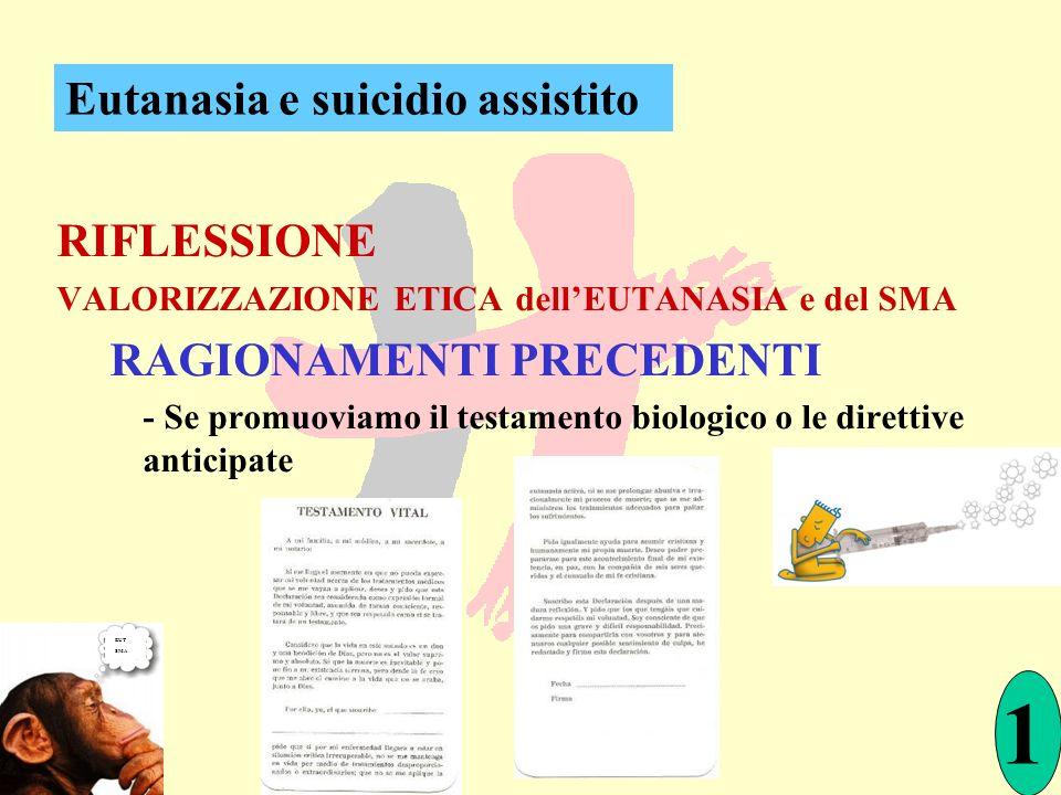 RIFLESSIONE VALORIZZAZIONE ETICA dellEUTANASIA e del SMA RAGIONAMENTI PRECEDENTI - Se promuoviamo il testamento biologico o le direttive anticipate Eu