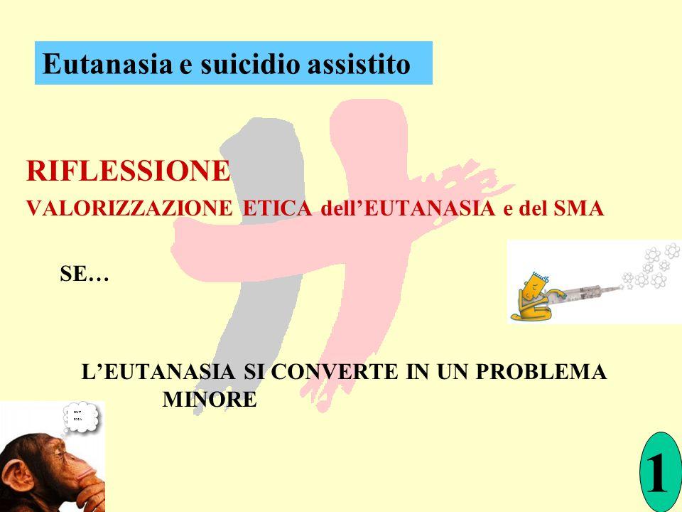 RIFLESSIONE VALORIZZAZIONE ETICA dellEUTANASIA e del SMA SE… LEUTANASIA SI CONVERTE IN UN PROBLEMA MINORE Eutanasia e suicidio assistito EUT SMA 1