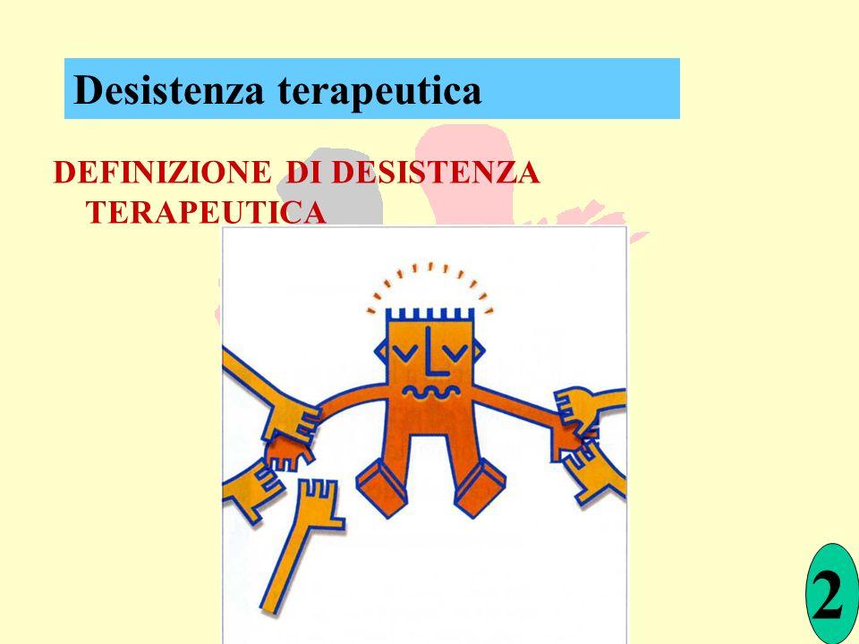 DEFINIZIONE DI DESISTENZA TERAPEUTICA 2 Desistenza terapeutica
