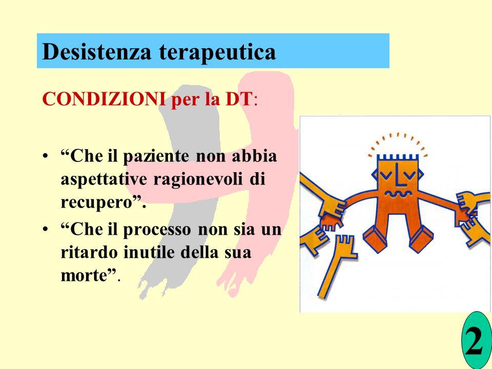 CONDIZIONI per la DT: Che il paziente non abbia aspettative ragionevoli di recupero. Che il processo non sia un ritardo inutile della sua morte. 2 Des