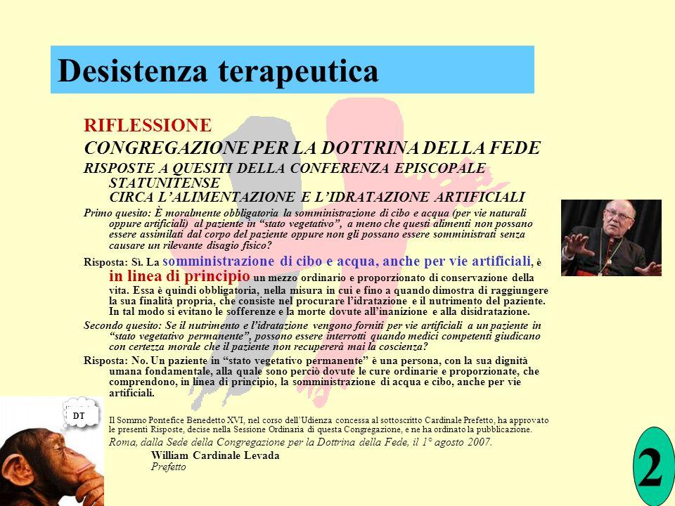 RIFLESSIONE CONGREGAZIONE PER LA DOTTRINA DELLA FEDE RISPOSTE A QUESITI DELLA CONFERENZA EPISCOPALE STATUNITENSE CIRCA LALIMENTAZIONE E LIDRATAZIONE A