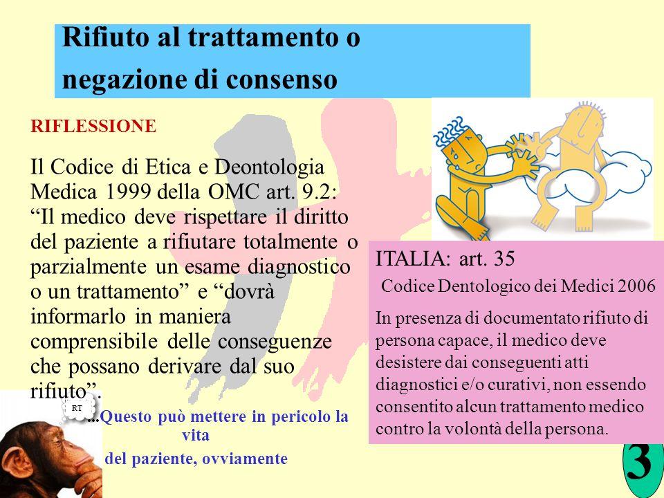 RIFLESSIONE Il Codice di Etica e Deontologia Medica 1999 della OMC art. 9.2: Il medico deve rispettare il diritto del paziente a rifiutare totalmente