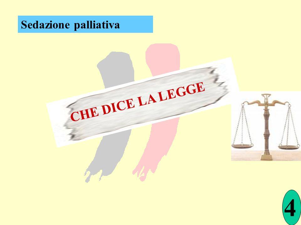 CHE DICE LA LEGGE 4 Sedazione palliativa