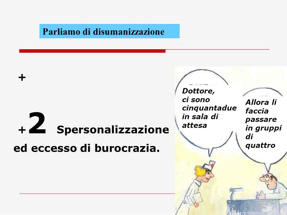 + + 2 Spersonalizzazione ed eccesso di burocrazia.