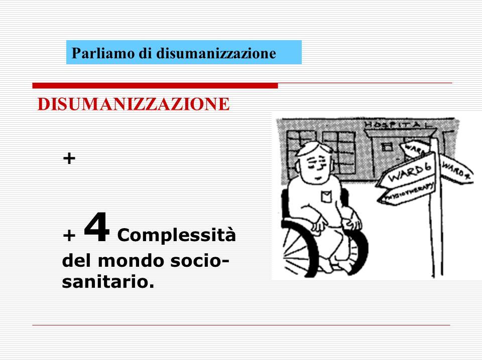 + + 4 Complessità del mondo socio- sanitario. DISUMANIZZAZIONE Parliamo di disumanizzazione
