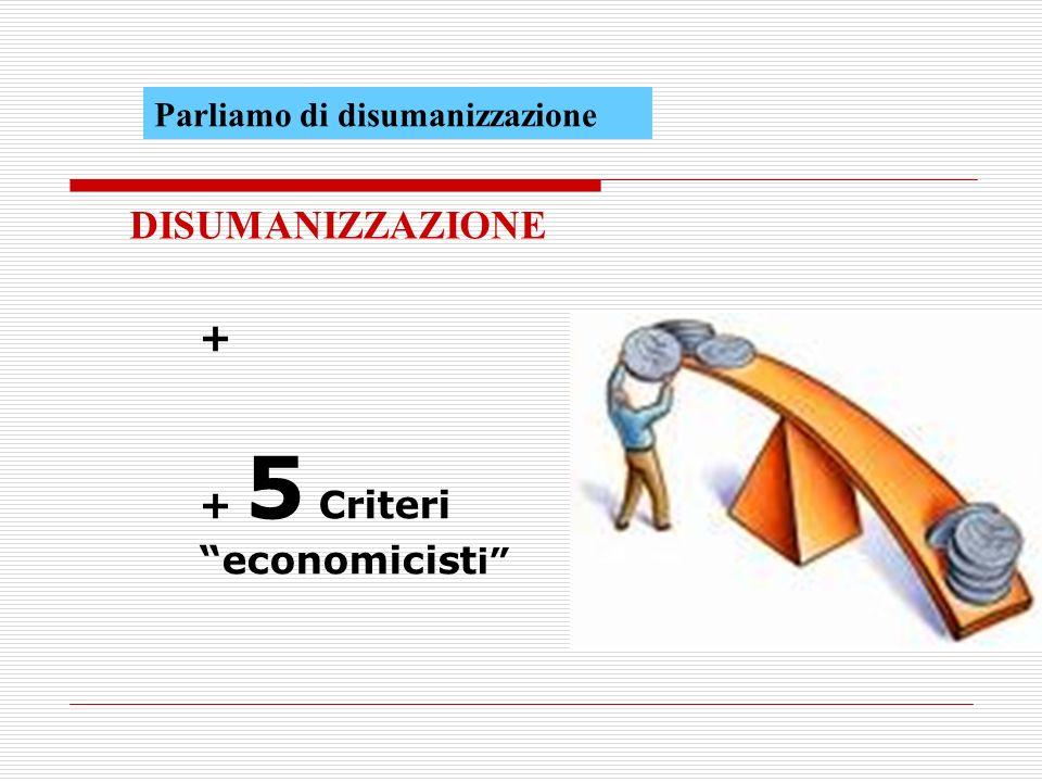 + + 5 Criteri economicist i DISUMANIZZAZIONE Parliamo di disumanizzazione