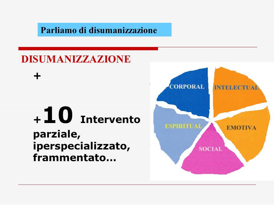 + + 10 Intervento parziale, iperspecializzato, frammentato… DISUMANIZZAZIONE Parliamo di disumanizzazione