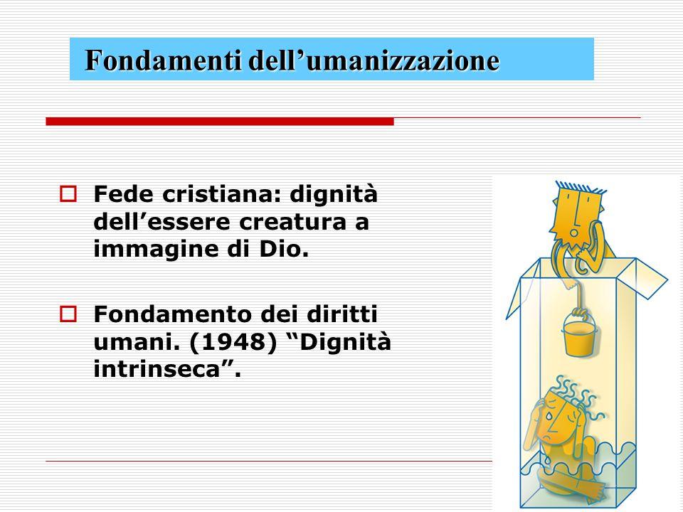 Fede cristiana: dignità dellessere creatura a immagine di Dio.
