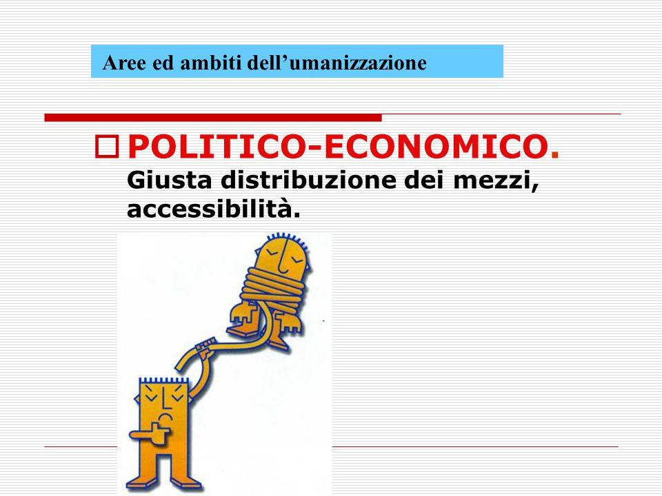 Aree ed ambiti dellumanizzazione POLITICO-ECONOMICO. Giusta distribuzione dei mezzi, accessibilità.