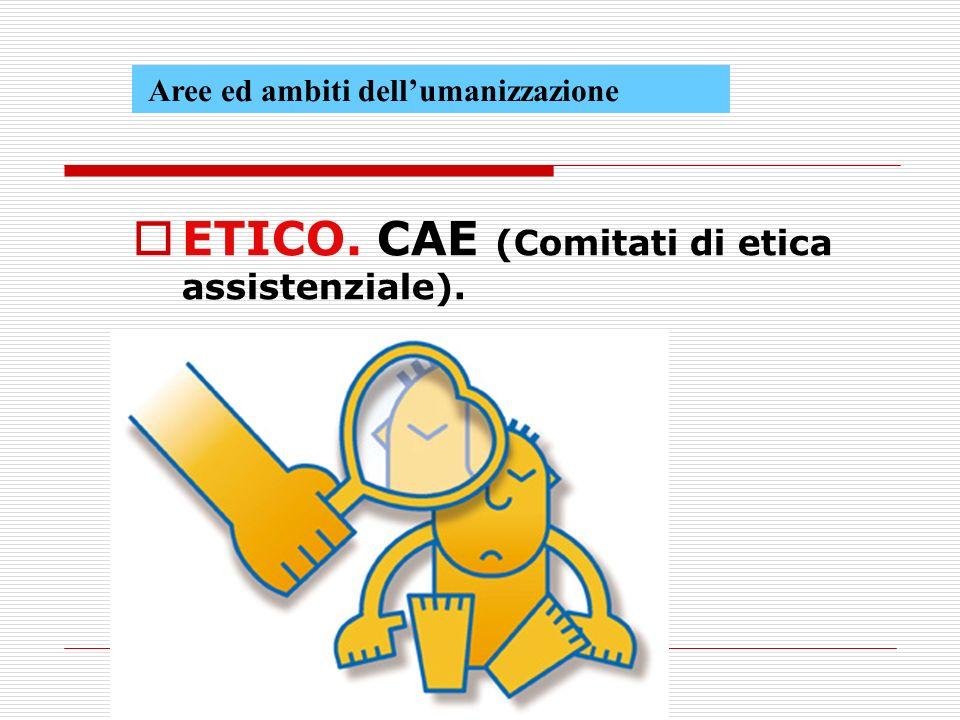 Aree ed ambiti dellumanizzazione ETICO. CAE (Comitati di etica assistenziale).