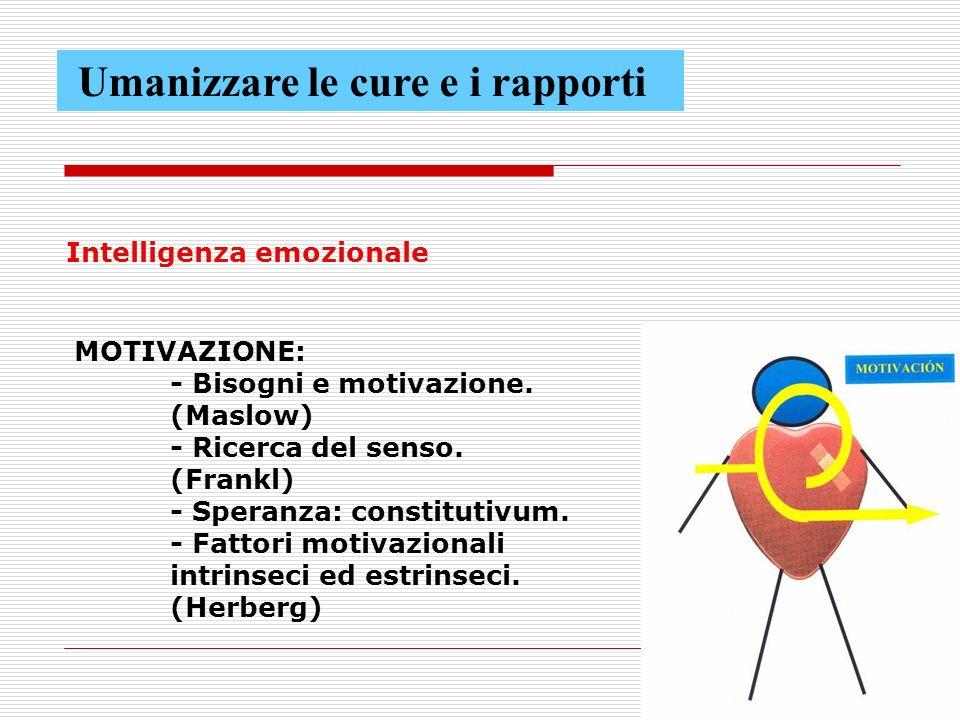 62 Intelligenza emozionale MOTIVAZIONE: - Bisogni e motivazione.