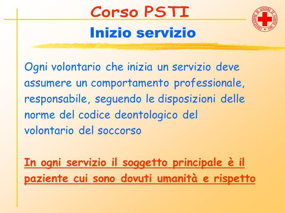 Inizio servizio Ogni volontario che inizia un servizio deve assumere un comportamento professionale, responsabile, seguendo le disposizioni delle norm