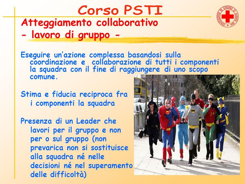 Atteggiamento collaborativo - lavoro di gruppo - Eseguire unazione complessa basandosi sulla coordinazione e collaborazione di tutti i componenti la s
