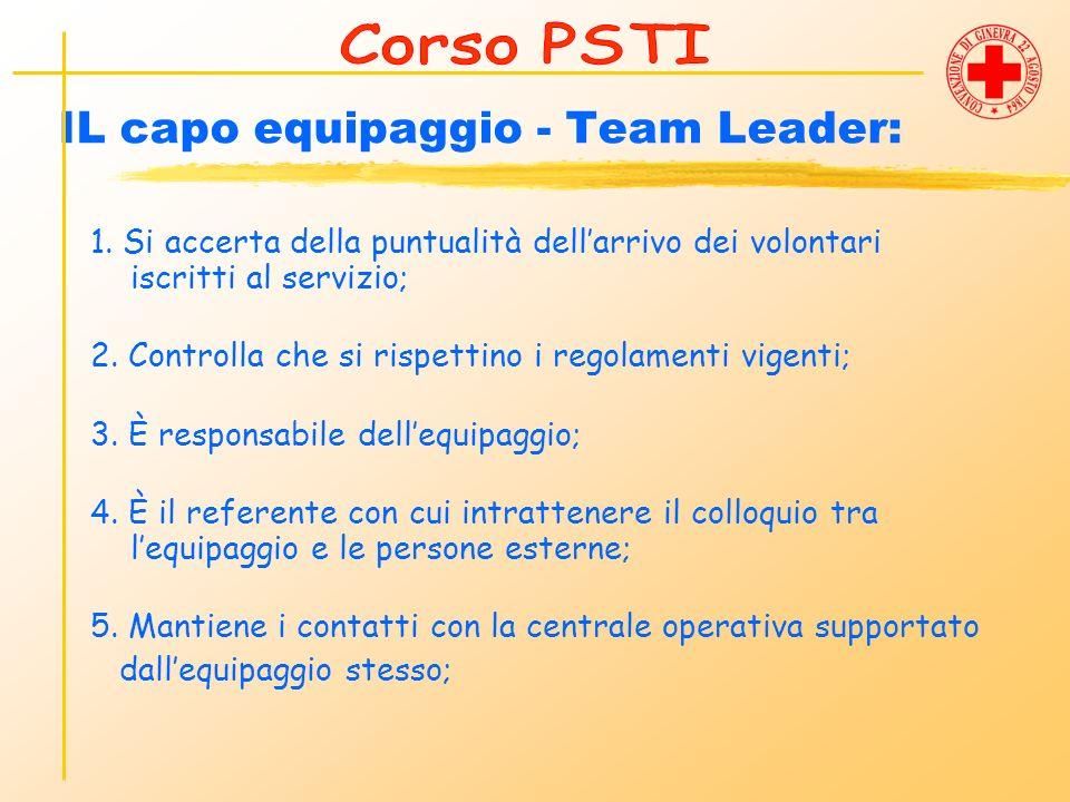 IL capo equipaggio - Team Leader: 1. Si accerta della puntualità dellarrivo dei volontari iscritti al servizio; 2. Controlla che si rispettino i regol