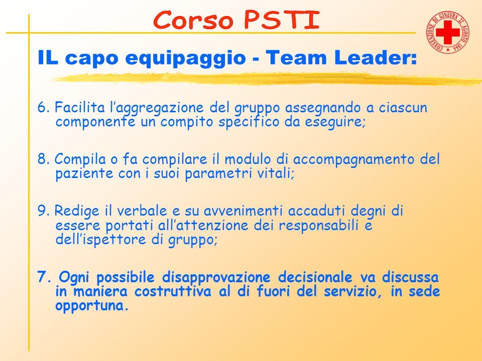 IL capo equipaggio - Team Leader: 6. Facilita laggregazione del gruppo assegnando a ciascun componente un compito specifico da eseguire; 8. Compila o