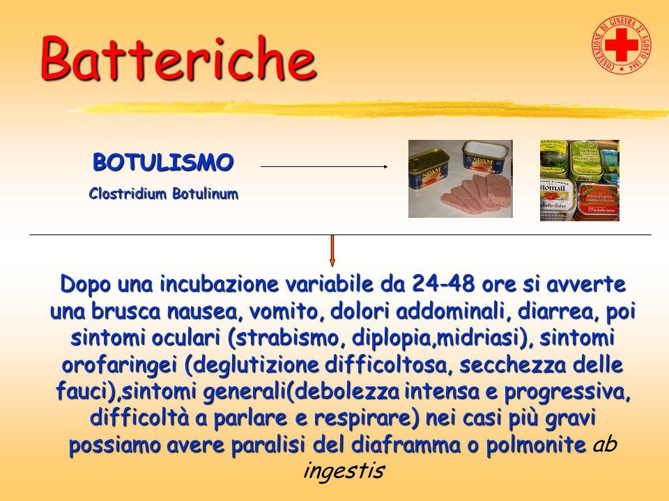Batteriche BOTULISMO Clostridium Botulinum Dopo una incubazione variabile da 24-48 ore si avverte una brusca nausea, vomito, dolori addominali, diarre