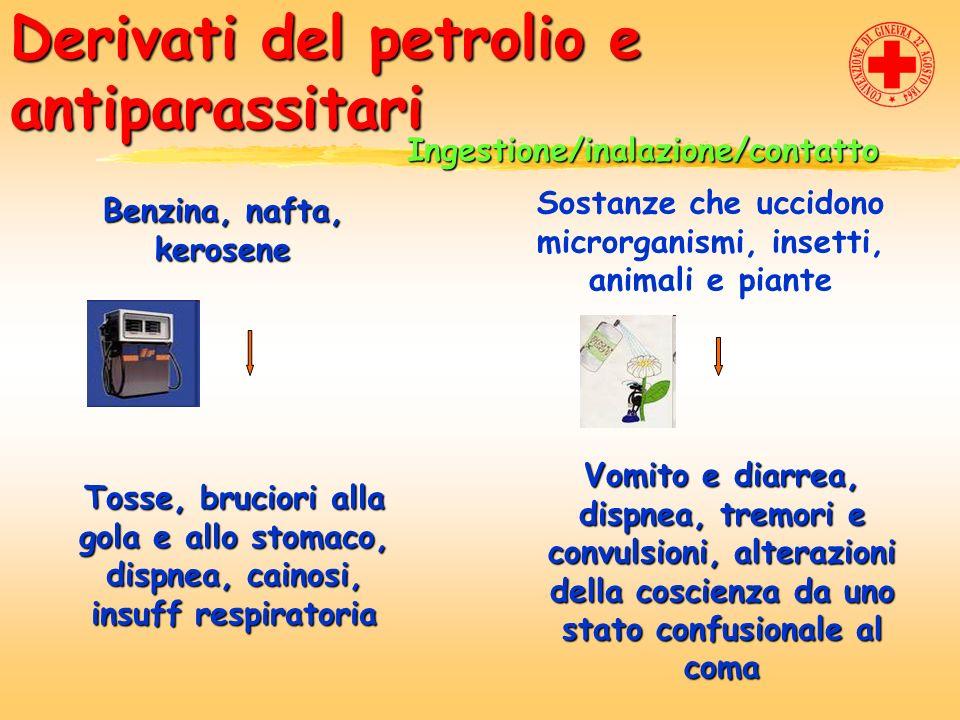 Derivati del petrolio e antiparassitari Ingestione/inalazione/contatto Benzina, nafta, kerosene Sostanze che uccidono microrganismi, insetti, animali