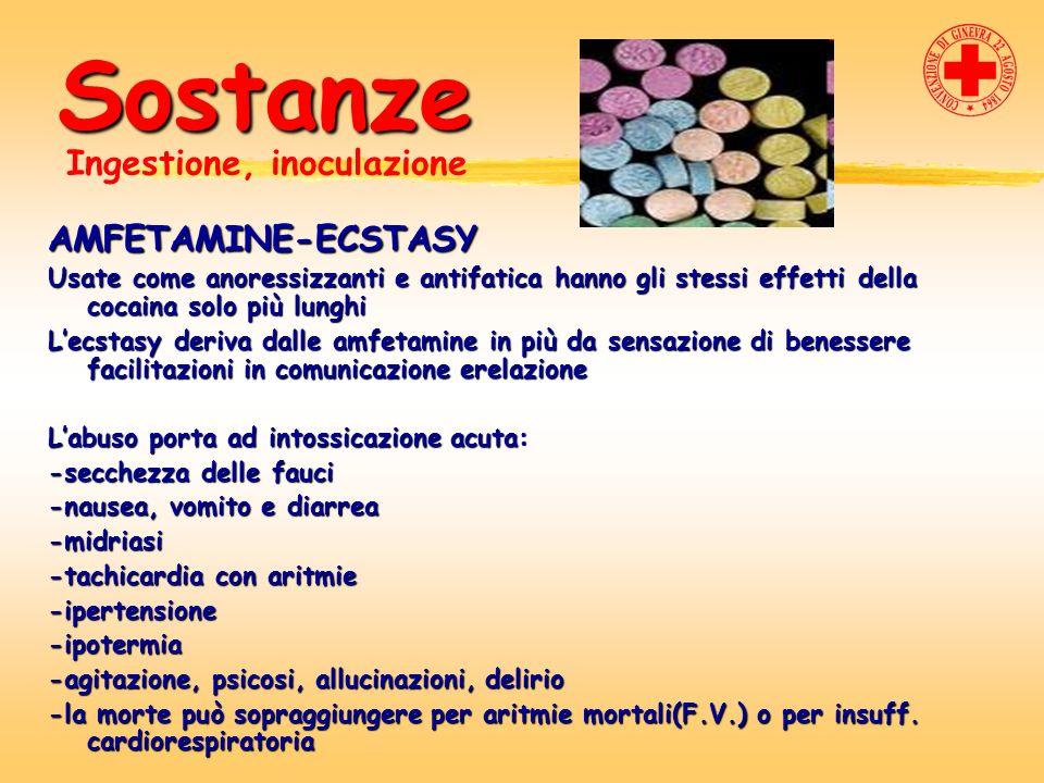 Sostanze AMFETAMINE-ECSTASY Usate come anoressizzanti e antifatica hanno gli stessi effetti della cocaina solo più lunghi Lecstasy deriva dalle amfeta
