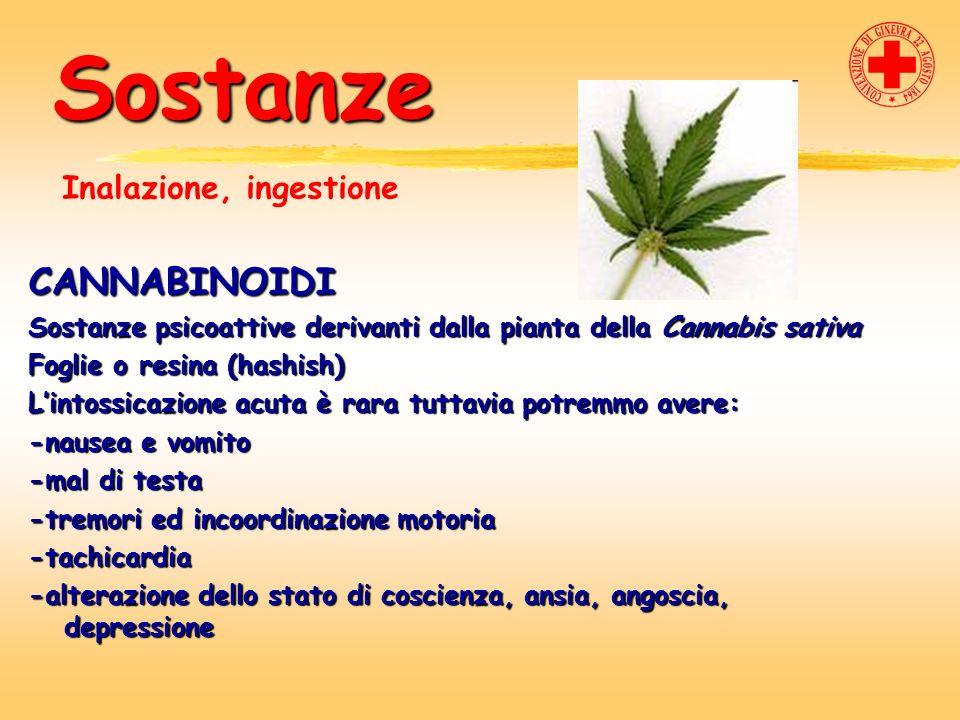 Sostanze CANNABINOIDI Sostanze psicoattive derivanti dalla pianta della Cannabis sativa Foglie o resina (hashish) Lintossicazione acuta è rara tuttavi