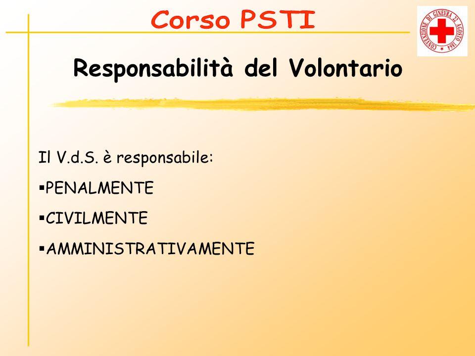 Responsabilità del Volontario Il V.d.S. è responsabile: PENALMENTE CIVILMENTE AMMINISTRATIVAMENTE