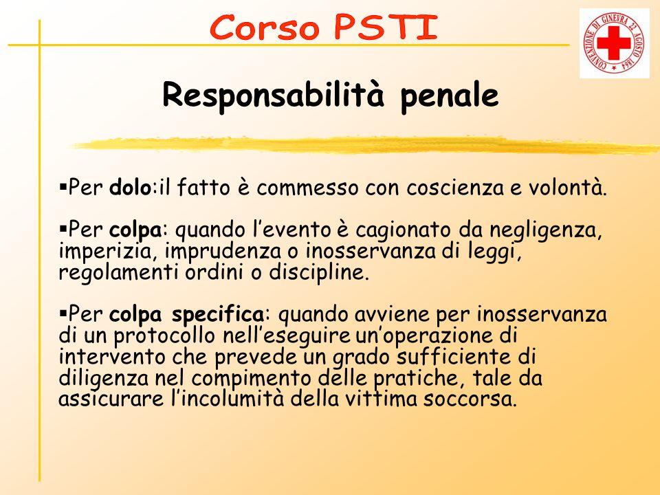Responsabilità penale Per dolo:il fatto è commesso con coscienza e volontà. Per colpa: quando levento è cagionato da negligenza, imperizia, imprudenza