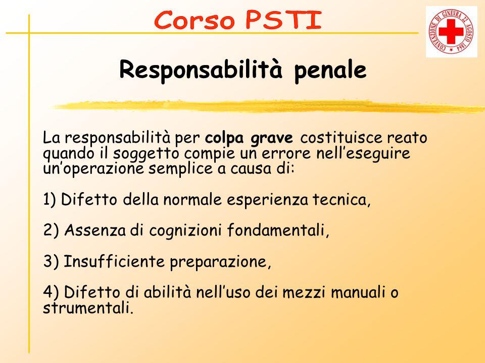 Responsabilità penale La responsabilità per colpa grave costituisce reato quando il soggetto compie un errore nelleseguire unoperazione semplice a cau