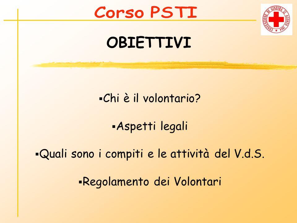 OBIETTIVI Chi è il volontario? Aspetti legali Quali sono i compiti e le attività del V.d.S. Regolamento dei Volontari