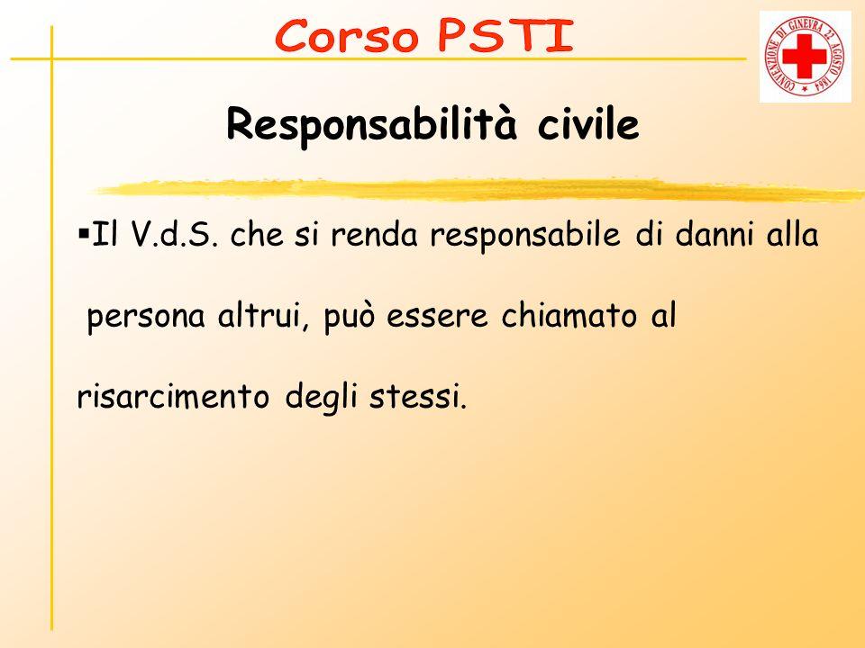 Responsabilità civile Il V.d.S. che si renda responsabile di danni alla persona altrui, può essere chiamato al risarcimento degli stessi.