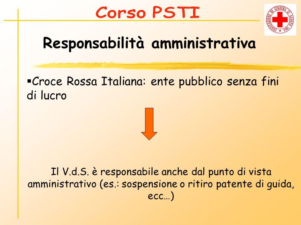 Responsabilità amministrativa Croce Rossa Italiana: ente pubblico senza fini di lucro Il V.d.S. è responsabile anche dal punto di vista amministrativo
