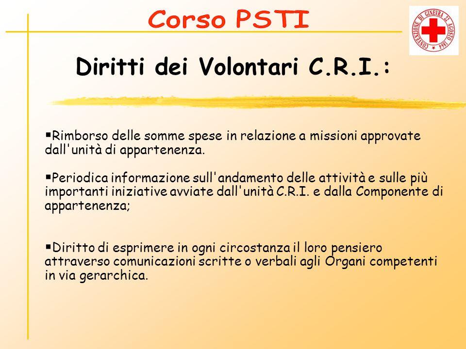 Diritti dei Volontari C.R.I.: Rimborso delle somme spese in relazione a missioni approvate dall'unità di appartenenza. Periodica informazione sull'and