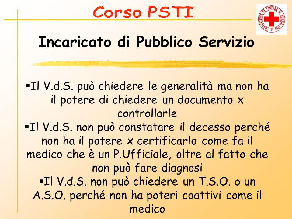 Incaricato di Pubblico Servizio Il V.d.S. può chiedere le generalità ma non ha il potere di chiedere un documento x controllarle Il V.d.S. non può con