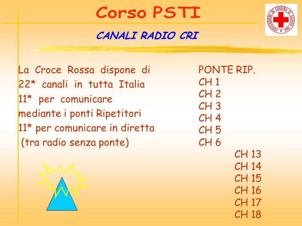 CANALI RADIO CRI La Croce Rossa dispone di 22* canali in tutta Italia 11* per comunicare mediante i ponti Ripetitori 11* per comunicare in diretta (tr