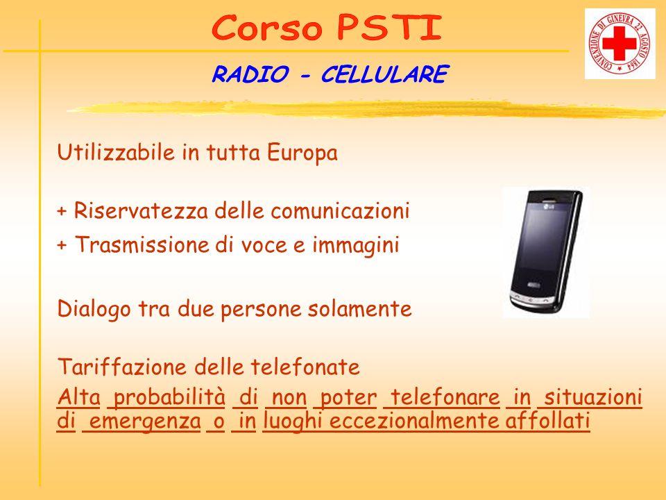 RADIO - CELLULARE Utilizzabile in tutta Europa + Riservatezza delle comunicazioni + Trasmissione di voce e immagini Dialogo tra due persone solamente