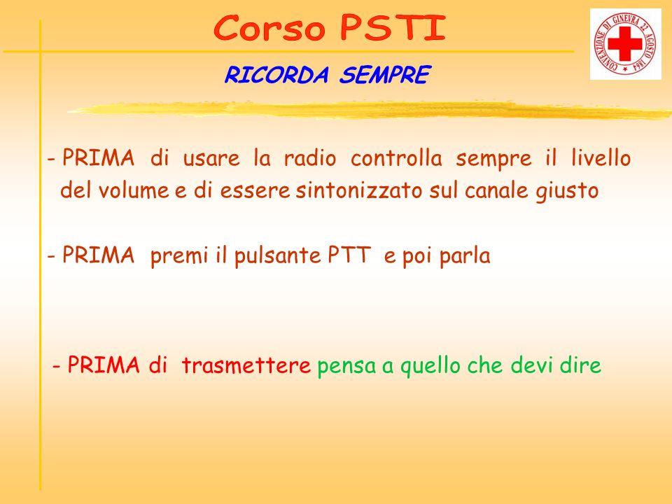 RICORDA SEMPRE - PRIMA di usare la radio controlla sempre il livello del volume e di essere sintonizzato sul canale giusto - PRIMA premi il pulsante P